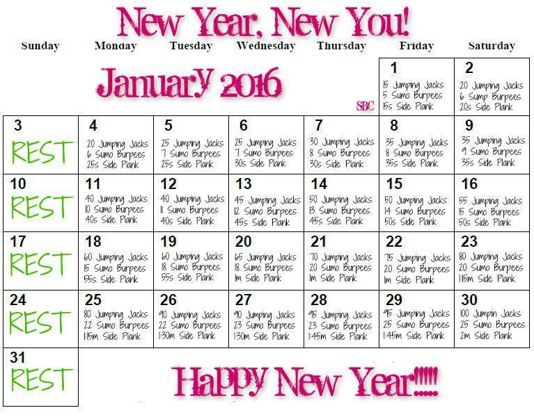 January Exercise Calendar, 2016 New Year Fitness Challenge