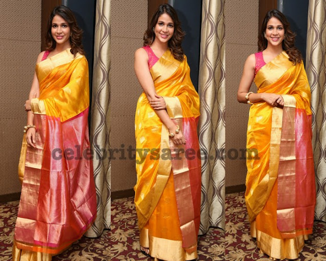 Lavanya Yellow Printed Silk Saree