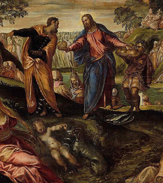 O milagre da multiplicação dos pães e dos peixes. Jacopo Tintoretto (1518/19–1594), Metropolitan Museum of Art, New York