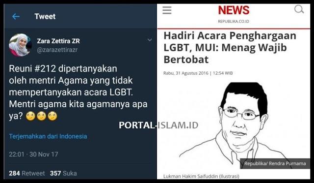 Reuni 212 Dipertanyakan, Acara LGBT Tidak Dipertanyakan, Netizen: Menteri agama kita agamanya apa?