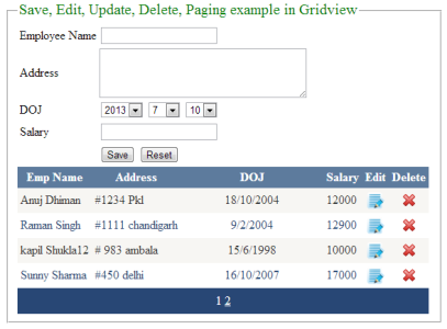 Bind,Save,Edit,Update,Cancel,Delete,Paging example in