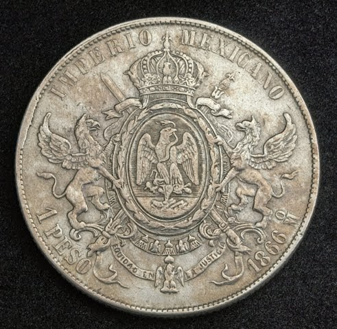Coins Of Mexico One Peso Silver Coin 1866 Emperor