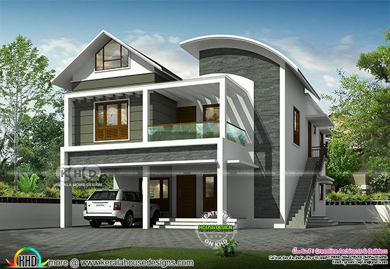 Day light rendering of curved roof mix house