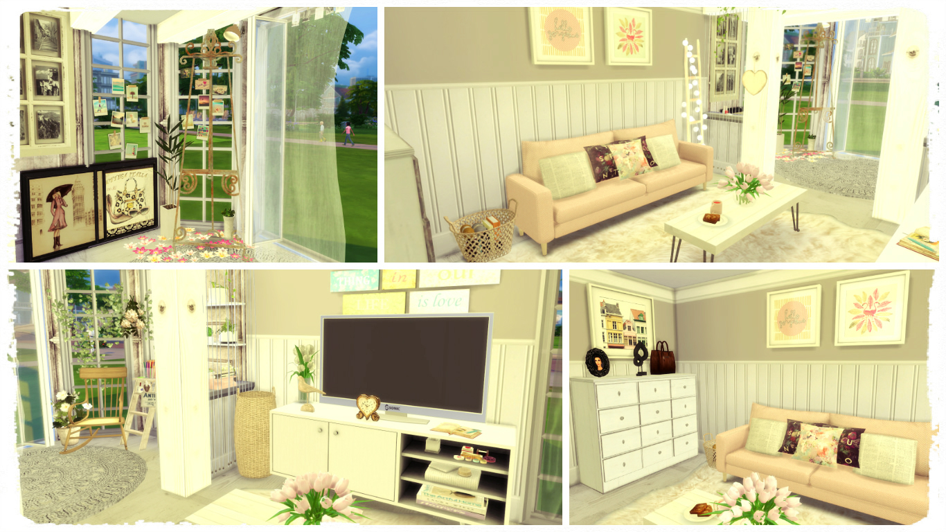 Sims 4 vintage living room dinha for Living room sims 4