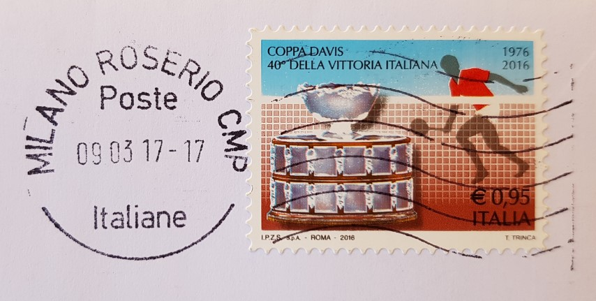 francobollo commemorativo nel 40° della vittoria italiana in Coppa Davis