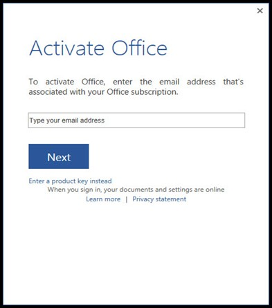 office setup sign in dialog box