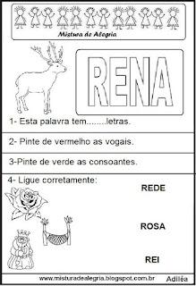 Atividades com a palavra rena- desenho