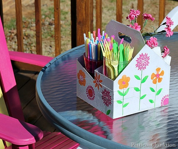 Organize a picnic caddy using a cardboard drink holder :: OrganizingMadeFun.com