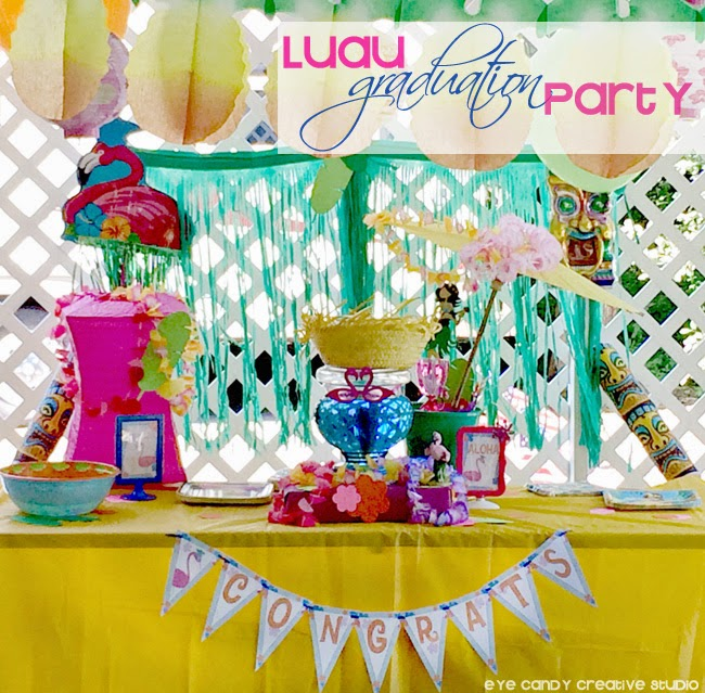 luau graduation party, leis, flamingos at luau, tiki, decor ideas