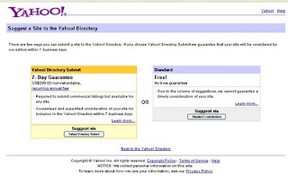 Step one Submit URL to Yahoo Directory