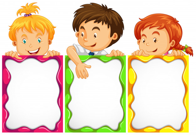 Banner design with cute kids Free Vector