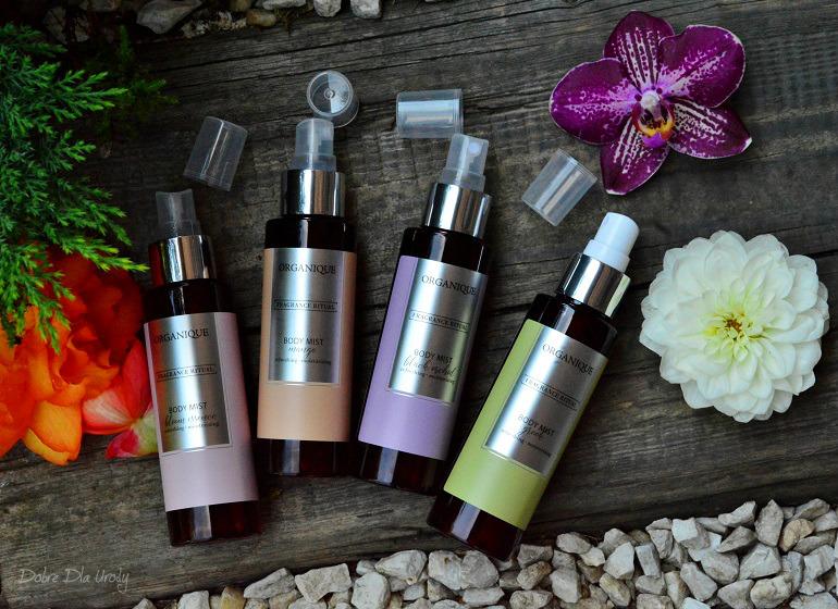 Rytuał zapachowy Organique ♥ Mgiełki do ciała - Mango, Czarna Orchidea, Bloom Essence i Grecka - recenzja