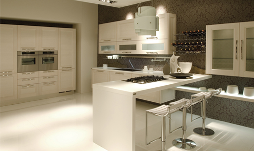 modern kitchen with solid surface cuntertops