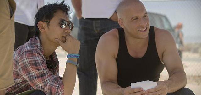 Regizorul James Wan şi starul Vin Diesel la filmările pentru filmul Furious 7