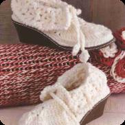 """Botines """"caña de voltear"""" a Crochet"""