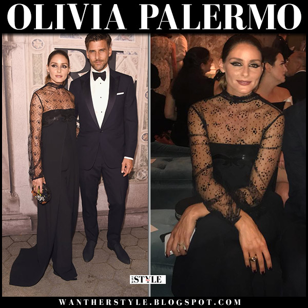 Olivia Palermo in black lace detail jumpsuit ralph lauren nyfw outfit september 7