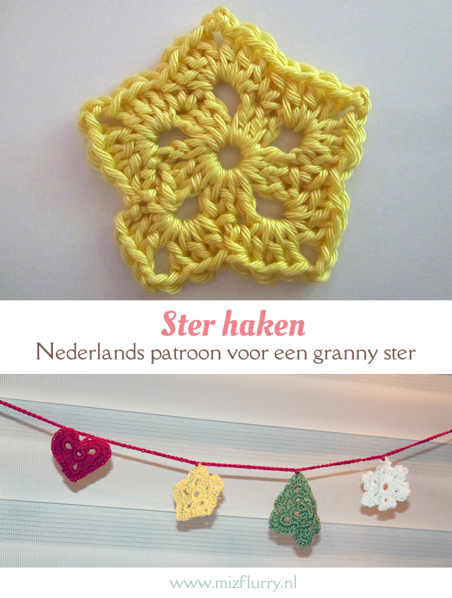 Nederlands patroon voor een granny-stijl ster. Makkelijk en snel een kleine ster haken. Gratis haakpatroon. | Free Dutch crochet pattern star