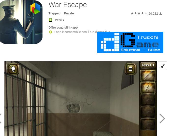 Soluzioni War Escape livello  1  2  3  4  5  6  7  8  9 10 | Trucchi e  Walkthrough level
