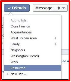 What is the restricted list on facebook
