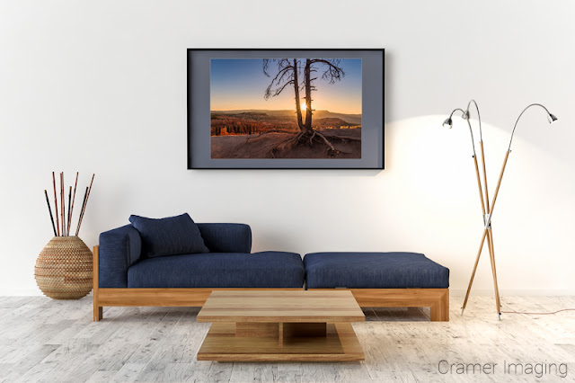 Photograph of Cramer Imaging's fine art photograph 'Sun Dance' on the wall of a sitting room with a blue lounge chair