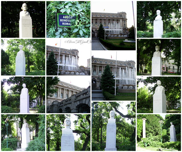 "Aleea rondului român. The alley with sculptures In Cismigiu Park. Busts of romanian writers. ""The Rondul Român (""Romanian Round"") or Rotonda Scriitorilor (""Writers' Rotunda"") is a circular alley which has stone busts of twelve important Romanian writers: Mihai Eminescu, Alexandru Odobescu, Titu Maiorescu, Ion Luca Caragiale, George Coșbuc, Ștefan Octavian Iosif, Ion Creangă, Alexandru Vlahuță, Duiliu Zamfirescu, Bogdan Petriceicu Hasdeu, Nicolae Bălcescu and Vasile Alecsandri."" Wikipedia"