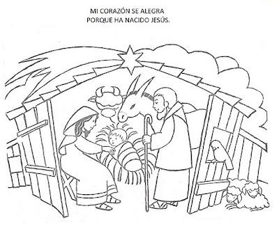 Pintar El Nacimiento De Jesus En El Establo Dibujos Infantiles