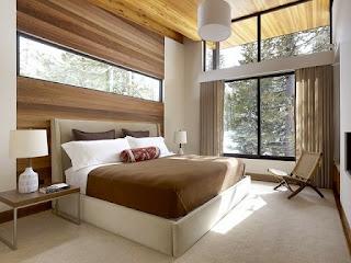 Dormitorio paredes de madera
