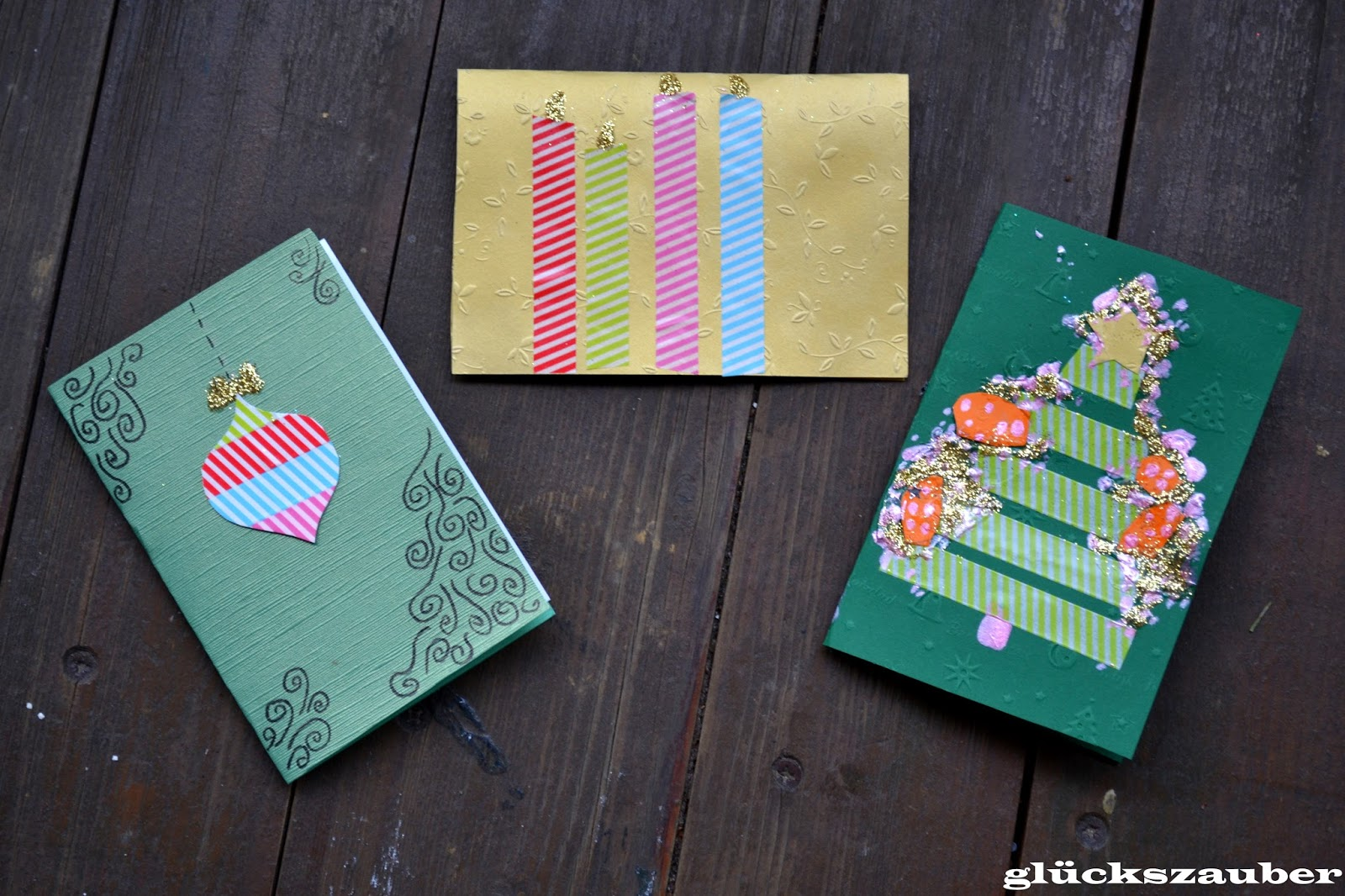 gl ckszauber basteln mit kindern weihnachtskarten mit masking tape. Black Bedroom Furniture Sets. Home Design Ideas