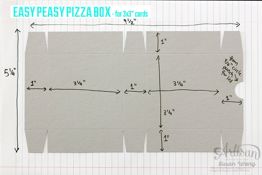 Pizza Box for 3x3 cards instructions ~ Susan Wong