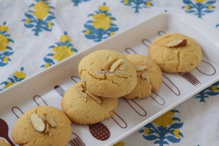 Nankhatai Recipe - Easy Dry Fruits Flavored Biscuits - नानख़ताई - Priya R - Magic of Indian Rasoi