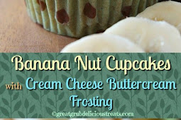 BANANA NUT CUPCAKES WITH CREAM CHEESE BUTTERCREAM FROSTING