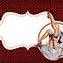 Pin Up en Negro con Lunares Rojos: Invitaciones para Imprimir Gratis.