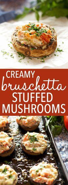 Creamy Bruschetta Stuffed Mushrooms