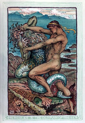 """Illustration of Hercules wrestling Proteus AKA """"The Old Man of the Sea"""""""