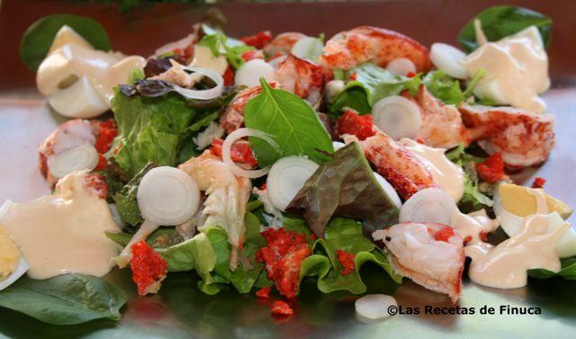 Las recetas de finuca ensalada de abrecanto bogavante con - Salsa para bogavante cocido ...