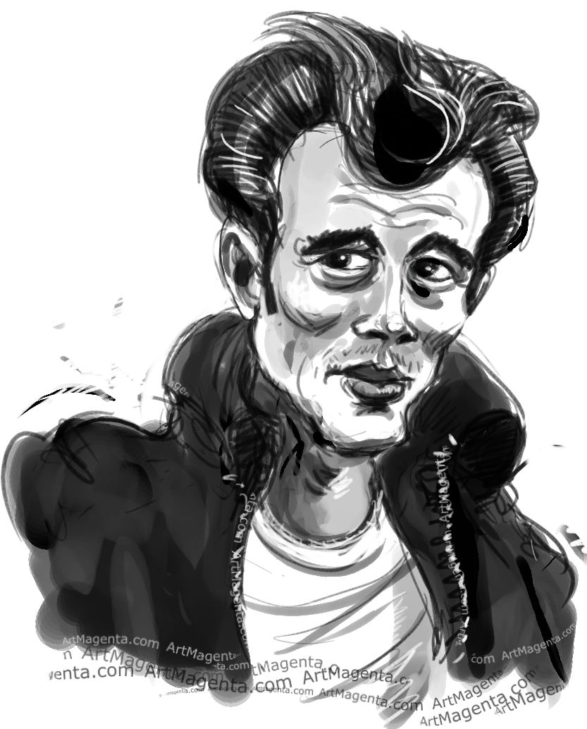 James Dean caricature cartoon. Portrait drawing by caricaturist Artmagenta