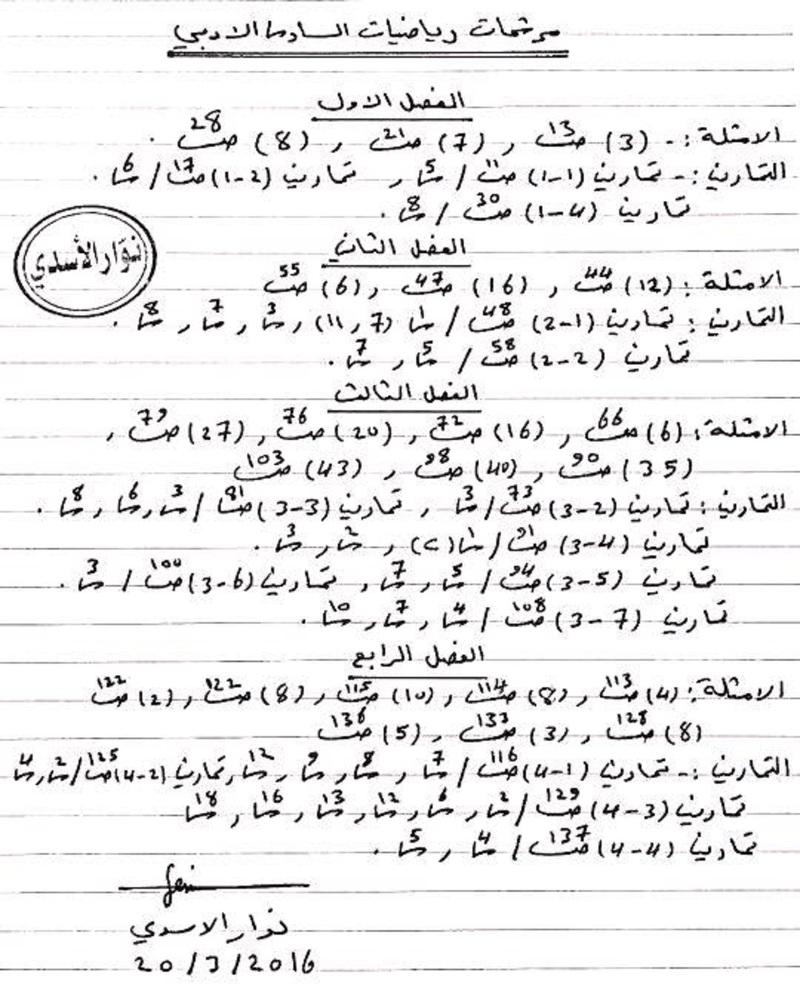 مرشحات الرياضيات السادس الأدبي اعداد الأستاذ نوار الأسدي مرشحات 2016