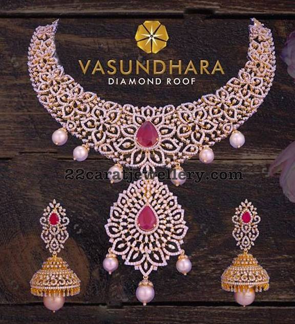 Heavy Diamond Set with Jhumkas