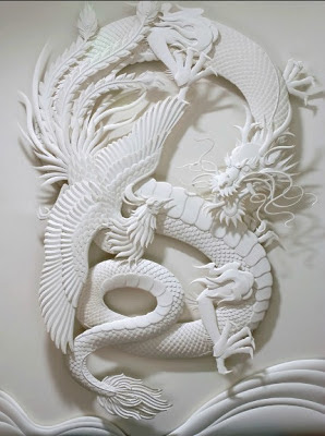JEFF NISHINAKA's Paper Sculpture-Dragon and Phoenix