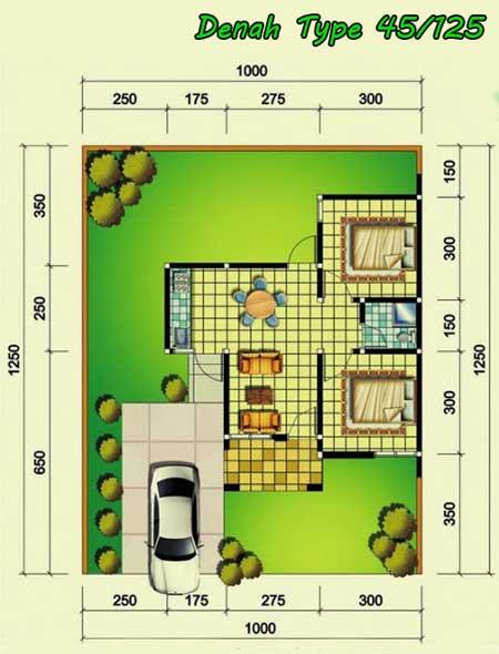 deain denah rumah minimalis type 45/125