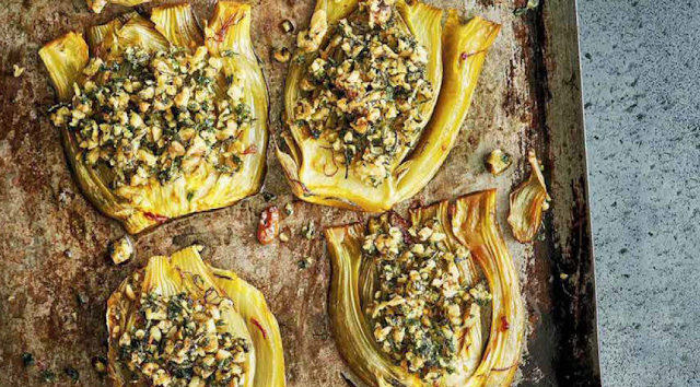 Saffron-infused fennel with a walnut and herb crumb