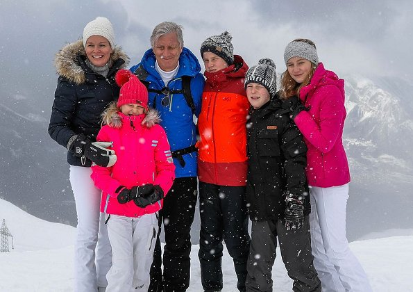 King Philippe, Queen Mathilde, Crown Princess Elisabeth, Princess Eleonore, Prince Gabriel and Prince Emmanuel