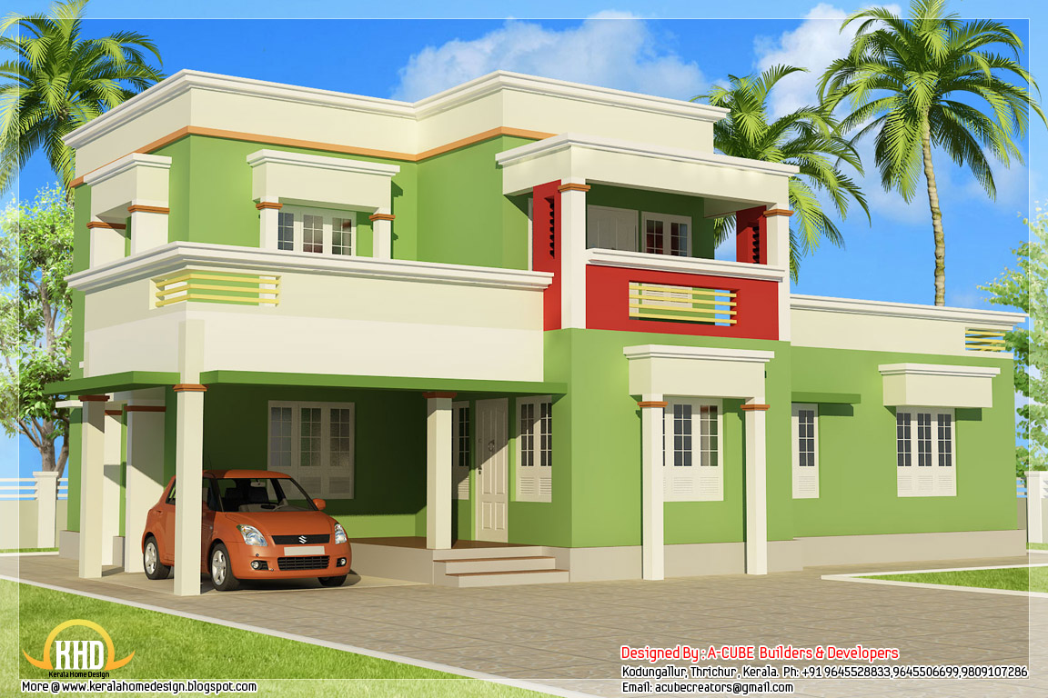 Simple 3 bedroom flat roof home design 1879 for Simple kerala home designs