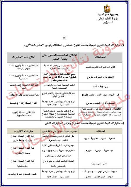 اماكن ومواعيد اختبارات القدرات بـ كلية الفنون الجميله والتطبيقيه (جميع المحافظات) 2016 للثانويه العامه