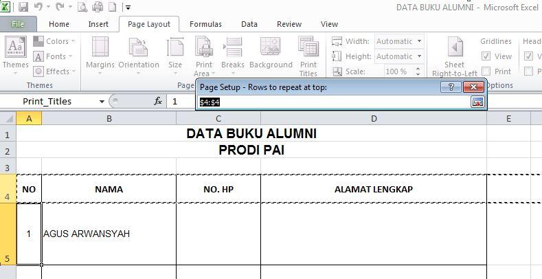 Tips Excel Membuat Judul Tabel Berulang di Tiap Halaman ...