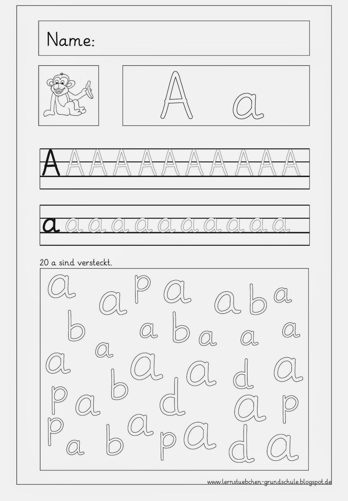 Lernstübchen: Vertiefungsblätter zu den eingeführten Buchstaben....