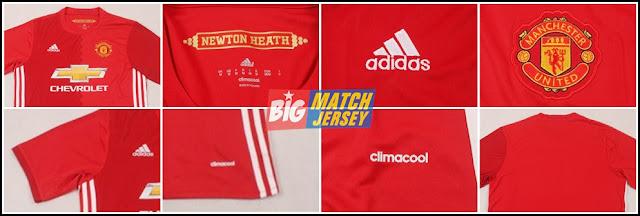 Detail Jersey Manchester United (MU) Home Terbaru Musim 2016-2017 Merah