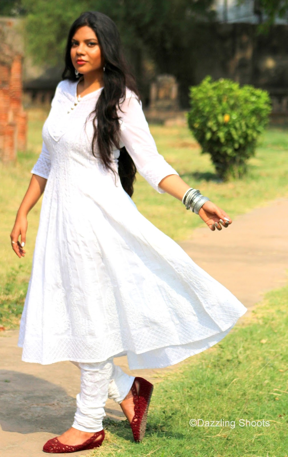 Chikan White Anarkali