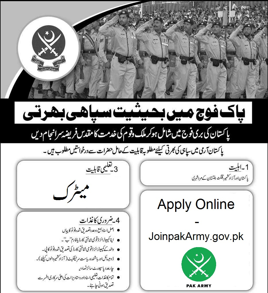 Join Pakistan Army as Soldiers May 2018 Online Registration - Joinpakarmy.gov.pk