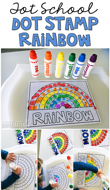 We LOVE dot stamps for fine motor practice. Grab this rainbow printables for color practice with a weather theme. Great for tot school, preschool, or even kindergarten!